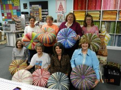 Sharyn and some of her students in a tuffet-making workshop